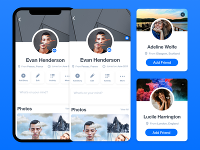Facebook Profile Concept social media avatar account klein blue facebook profile user interface app design sans serif app ux design ui design monochrome ux ui design white black clean
