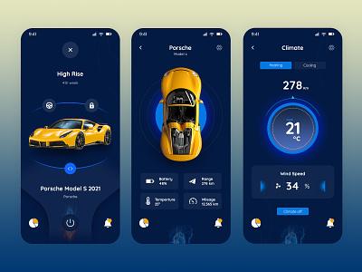 Porsche Control App android clean ui clean car connect remote control control controller location tracker interaction remote smart car design app porsche ios ux ui minimal interface control app