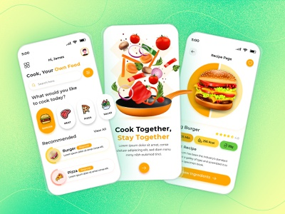 Cooking Recipe - Mobile App 🍅 ingredients foodie chef private chef learn cooking minimalist recipes uiux clean minimal creative mobile app design food recipe cooking cook recipe app food app food illustration cooking recipe