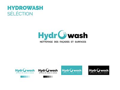 LOGO HYDROWASH brand marque identity blue logo blue wash logo trend