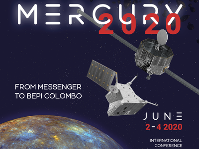 MERCURY 2020 satelite science colloque font typeface photoshop blue red branding identity design visual spaceship space lpc2e nasa
