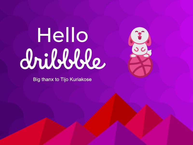 Hello dribble character vector violet invite rabbit illustation hello dribble first shot