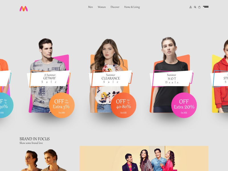 Mynthra-Fashion store women men fashion store myntra ui ux web interface inspiration fashion e-commerce design grid website design system ecommerce gredient landing page