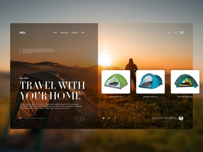Tent homepage home mobile app design grid picture travel tent ecommerce typography ux ui website interface web e-commerce branding inspiration design system design landing page
