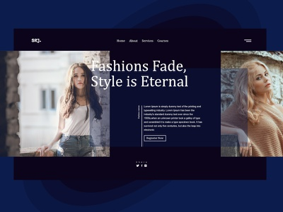 Fashion 2.0 fashion design school course branding modeling model grid vector gredient fashion ux dark interface web ui inspiration design system design landing page website