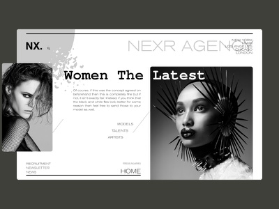 Nexer Modeling Agency Landing Page photography landing page women concept art modeling fashion interface inspiration ui branding design website