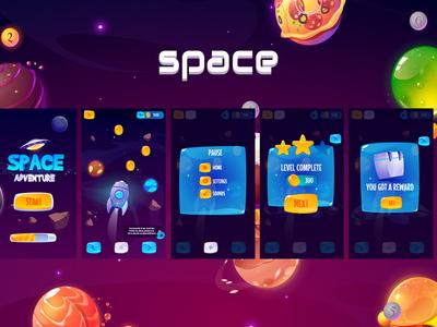 GUI app screens space adventure game adventure space