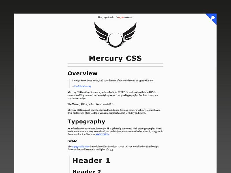 Mercury CSS – Classless Stylesheet