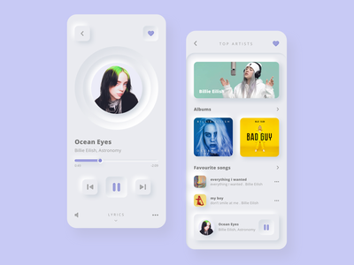Music Player Concept App neumorphism ui neumorphism neumorphic billie eilish music player uxui ui ux