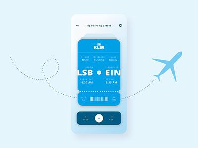 Boarding pass concept airline blue app flight klm boarding pass ux uiux ui