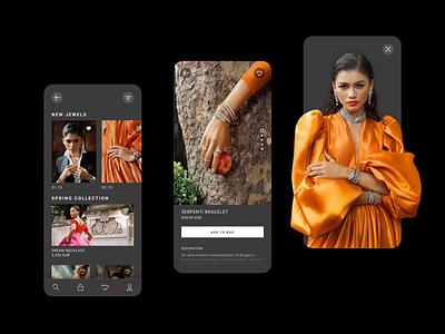 E-commerce Shop Concept App fashion shop bvlgari zendaya uxui ux ui app e-commerce app jewels jewelry e-commerce