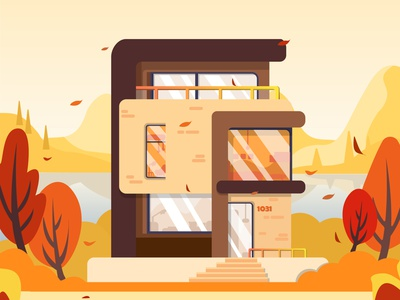 Autumn villa illustration vacancy bulding villa autumn ui illustration