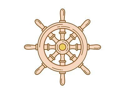 Captain's Wheel Illustration airship