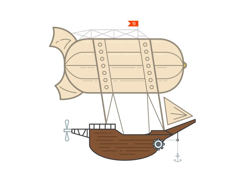 Airship's Airship Illustration team airship illustration flat airship