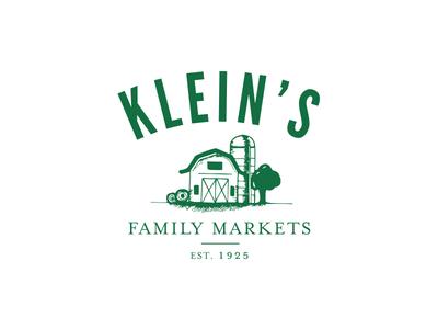 Klein's Family Markets Logo vintage modern healthy product grocery supermarkets flat hand drawn illustration branding kleins family markets logo