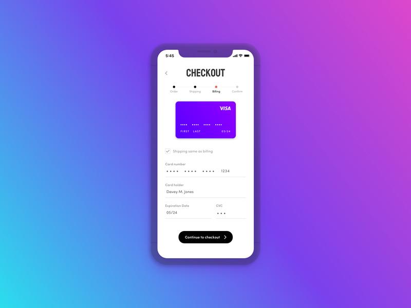 Credit Card Checkout - Daily UI 002 gradient visa payment billing iphone credit card checkout dailyui