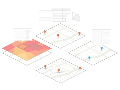 Map illustrations map topography markers analysis heatmap