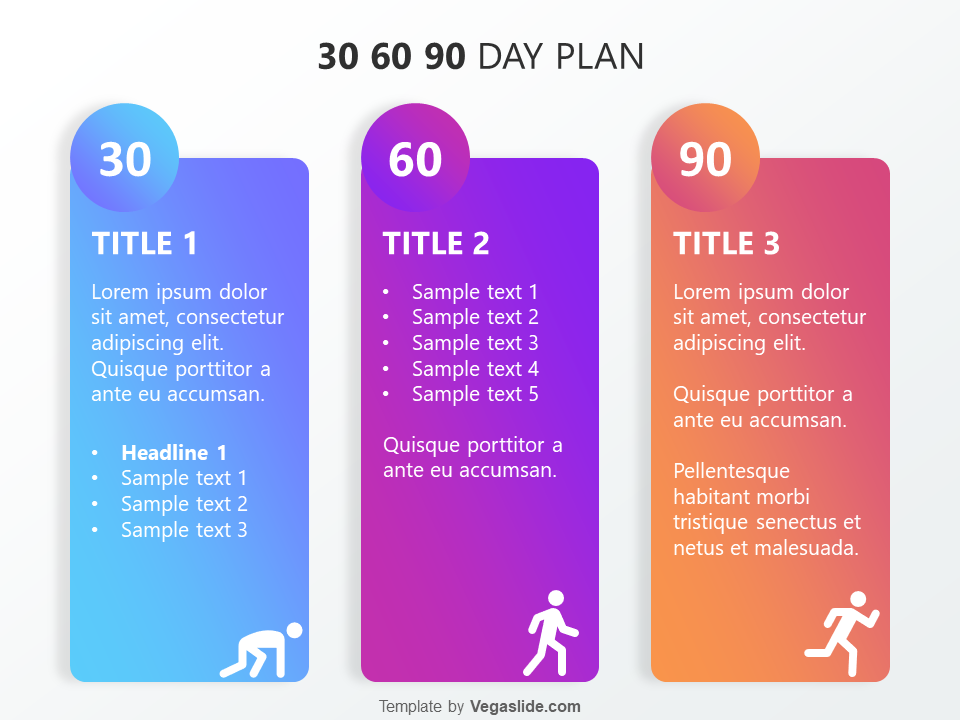 Refreshing 30 60 90 Day Plan Powerpoint Template Download