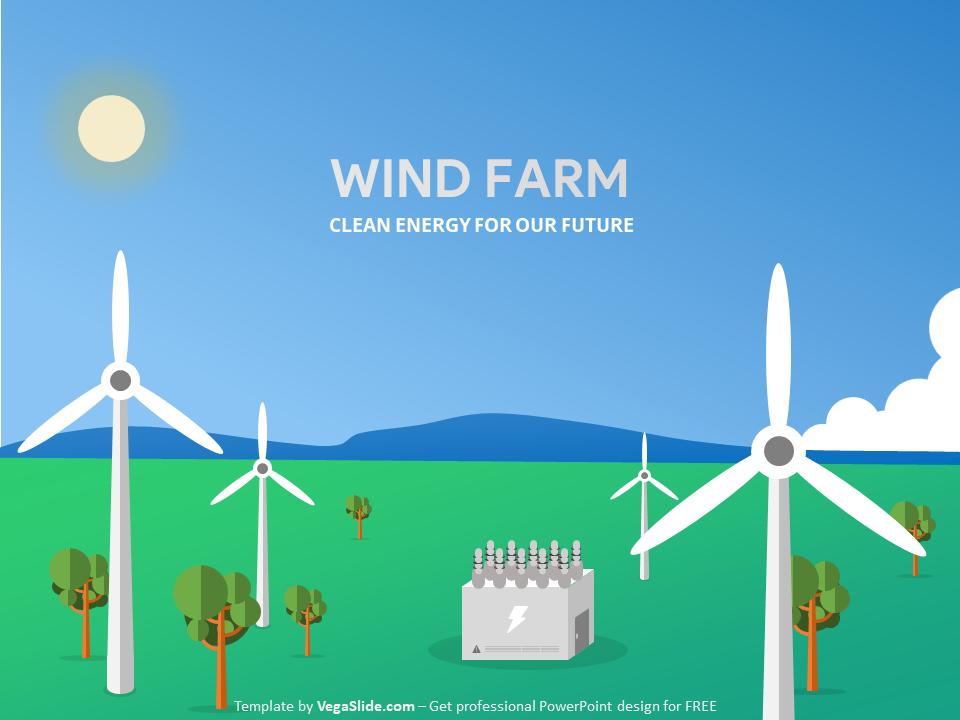 Wind Farm Landscape Powerpoint Template Download Free By Vegaslide