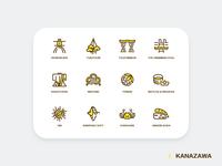 Kanazawa Travel Icons Set
