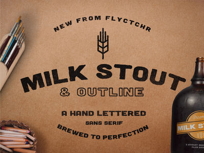 Milk Stout Font brew beer craft outline typography hand drawn typeface type font