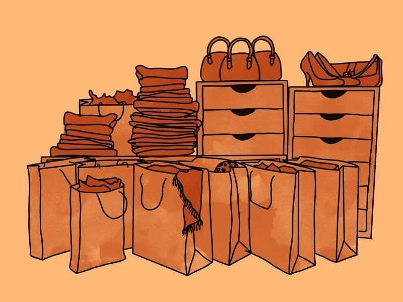 Gluttony vector illustration stacks shoes purses bags clothing orange sins seven deadly sins gluttony