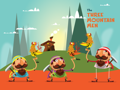 Three Mountain Men vector illustration art mustache
