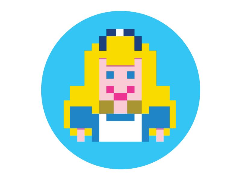 Alice In Pixels Identity mark graphic design logo branding identity
