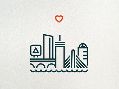 One Heart Boston (letterpress print) boston heart letterpress for sale print charity the one fund boston boston strong boston marathon bombing benefit