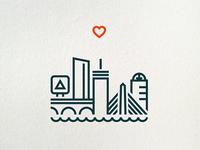 One Heart Boston (letterpress print)