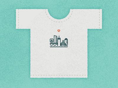 One Heart Boston Tee tshirt boston tee texture illustration heart