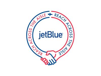 Reach Across The Aisle 4 logo plane airplane handshake badge
