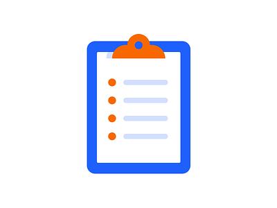 Clipboard icon clipboard list blue orange indeed