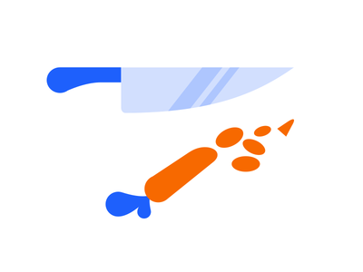 Chop Chop knife chefs knife carrot blue orange icon indeed