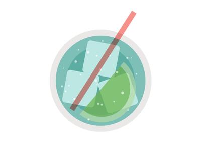 JetBlue Mint™ Cocktail (top-down) jetblue mint lime cocktail ice glass illustration bubbles