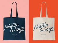 Needle & Sage Tote tote bag script lettering