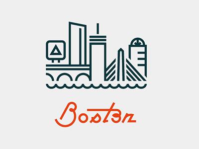 Boston boston massachusetts city skyline cityscape illustration lettering monoline citgo prudential center zakim bridge bunker hill charles river john hancock tower 111 huntington avenue longfellow bridge