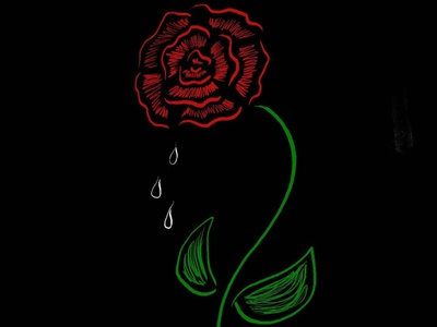 Weep Oh Poor Soul flower bloom crying black and red rose red photoshop illustration