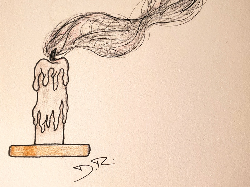 The Candle illustration ink colored pencil candle pencil sketch