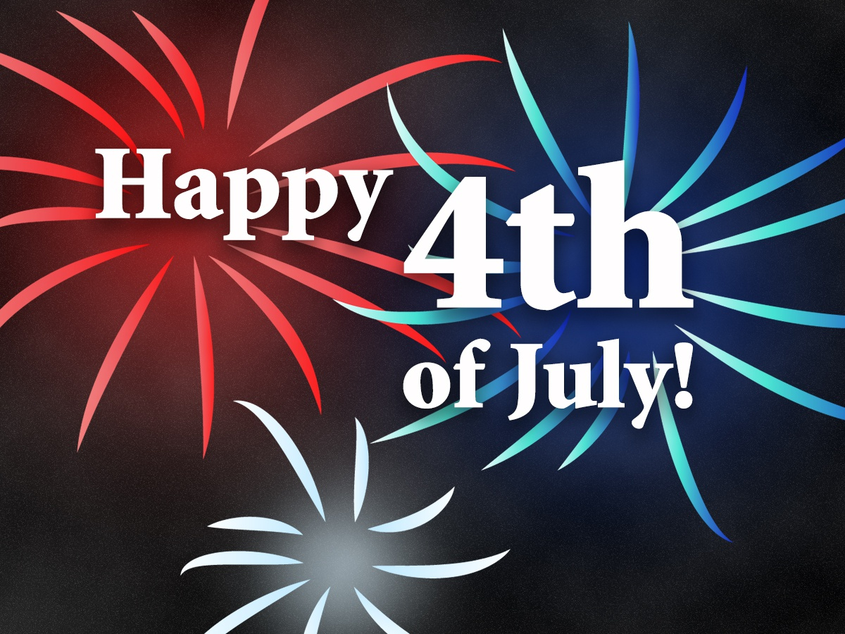 Happy 4th of July! celebrate july 4th type fireworks red white and blue photoshop illustration 4thofjuly