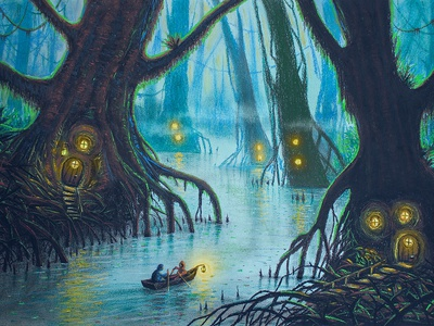 Swamp Dwellers fogg treehouse boat rowing water river magic mistery fantasy forest swamp