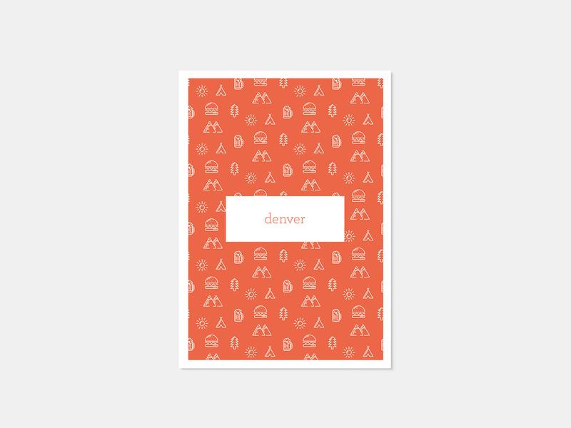 Denver Post Card minimal illustration line art icon typography minimal minimalism illustration colors mono weight minimalism illustration vector design