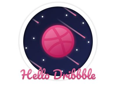 [ Illustration ] Hello Dribbble! dribbble dribbble ball hello hello dribbble flat icon ui design logo illustration