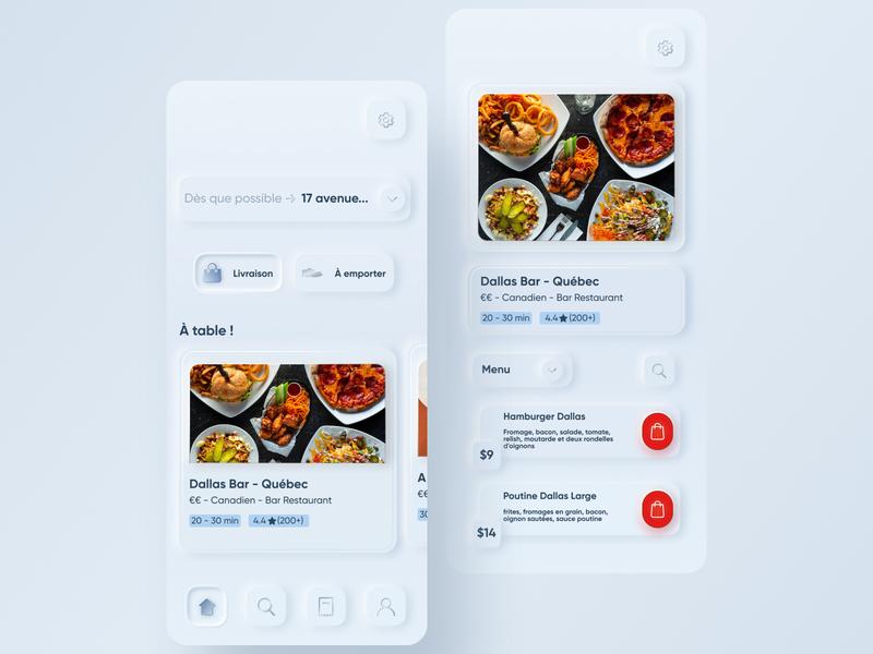Skeuomorph Food Delivery App minimal shadow application app rebound delivery app food delivery app ui design uidesign skeumorphism clean skeuomorph app