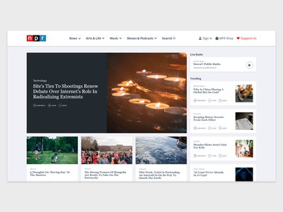 Redesign of NPR's home page news app news feed news design ux design user interface user experience ui design app design daily ui 100 day project website ux ui web  design daily challange adobe xd
