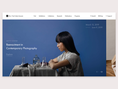 Redesign of The Getty Museum's landing page landing page museum interface design ux design user interface user experience ui design daily ui app design 100 day project website web  design ux ui daily challange adobe xd