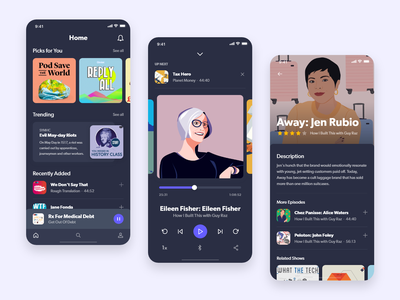 Podcast App mobile design mobile app design mobile app podcast app interface adobexd ux design user interface user experience ui design daily ui app design 100 day project ux ui daily challenge adobe xd