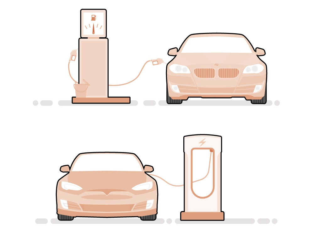 Gas Vs Electric infographic electric car tesla car web vector flat illustration design