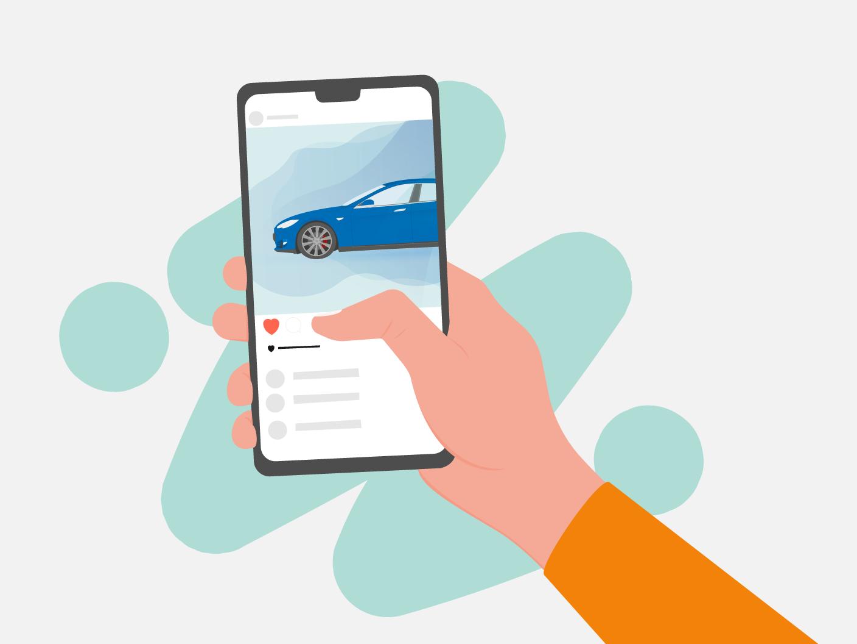 Illustration of social media on a smartphone debut illustrator hand drawing adobe infographic vector illustration flat design