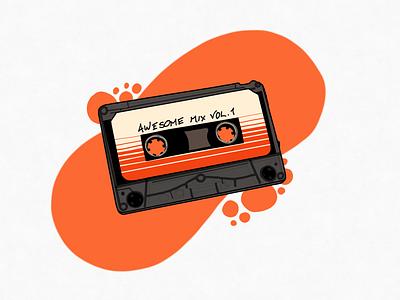 Awesome Mix Vol 1 cassette tape retro cassette drawing adobe illustrator vector illustration